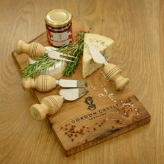 Burr Elm Chopping Board and Cheese Knife Set