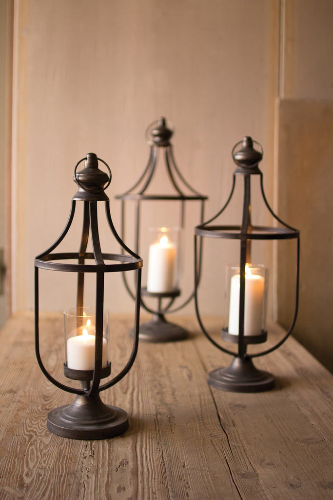Metal Lanterns With Glass Insert - Set of 3