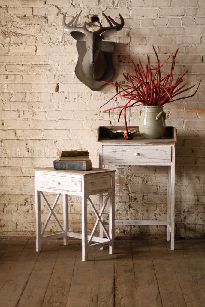 Whitewashed Side Table With Distressed Wooden Tops - Set of 2