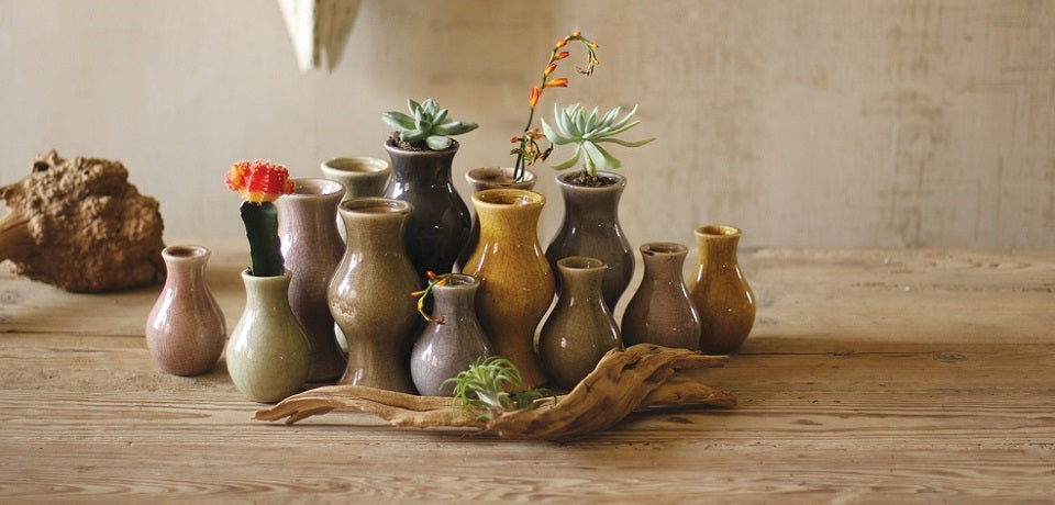 Ceramic Earth Tone Bud Vases - Set of 13