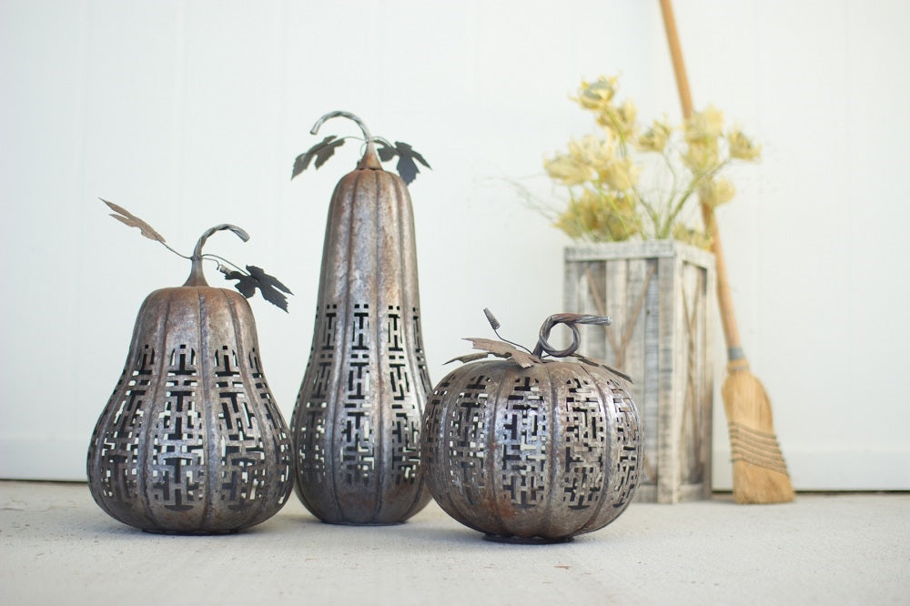 Metal Rustic Galvanized Pumpkins - Set of 3