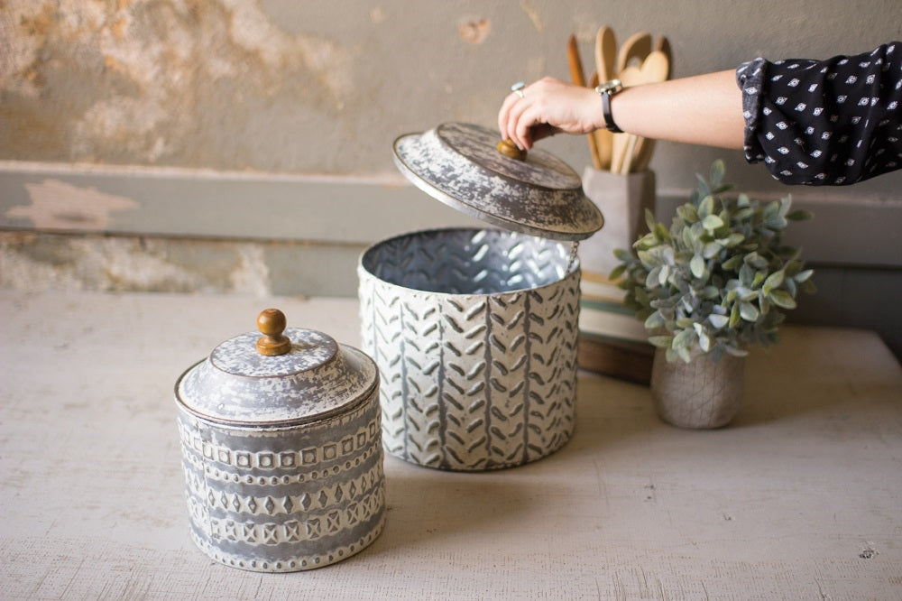 Pressed Tin Canister - Set of 2