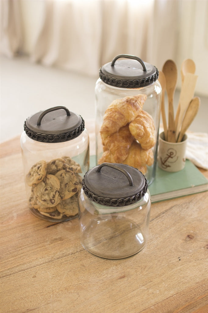 Glass Canisters With Antique Brass Finish Lids - Set of 3