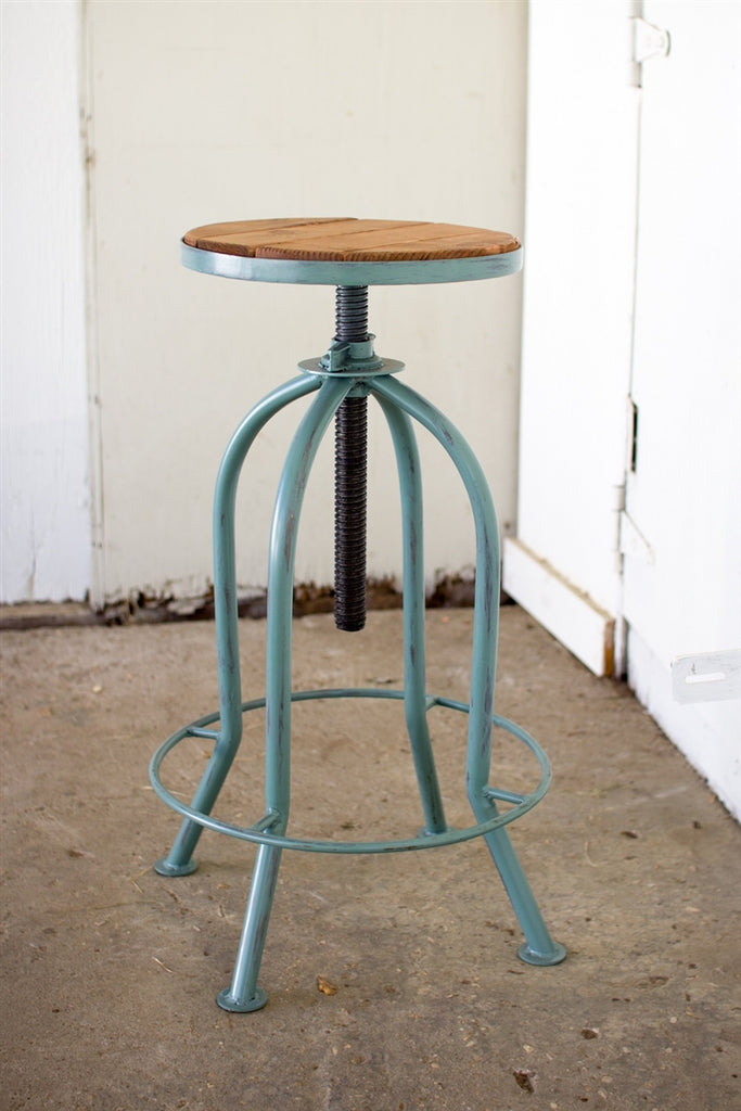 Adjustable Bar Stool With Recycled Wood - Industrial Blue