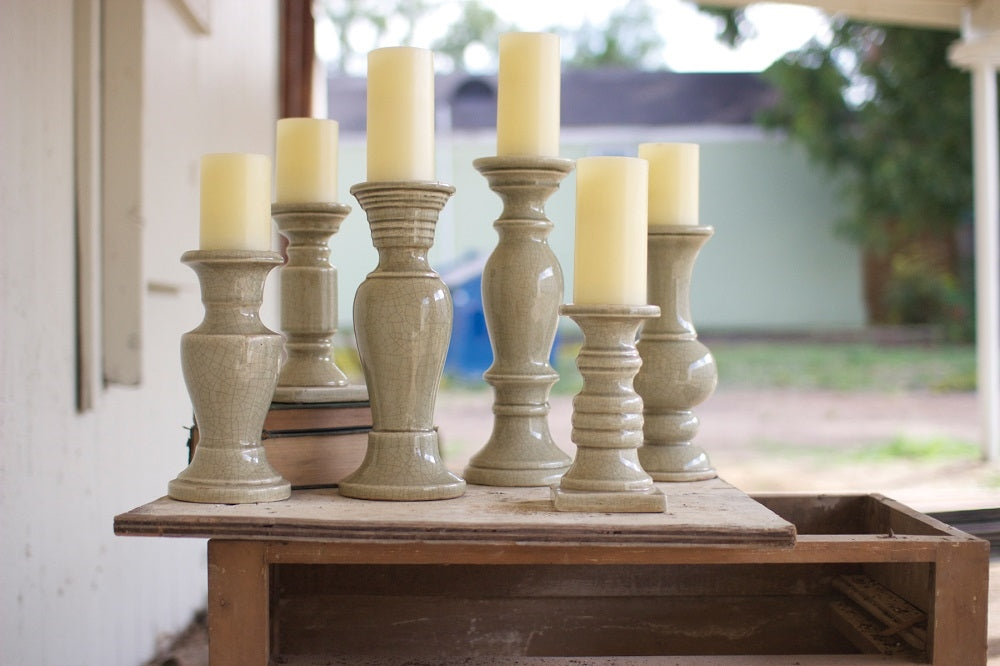 Grey Ceramic Candle Holders - Set of 6