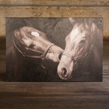 Black And White Kissing Horses Oil Painting