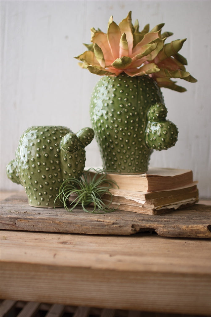 Round Ceramic Cactus Vases - Set of 2