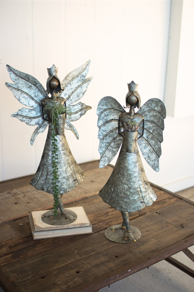 Tall Galvanized Angels - Set of 2