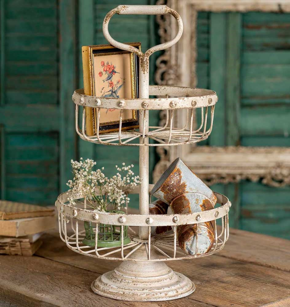 Distressed Two Tier Wire Basket With Handle