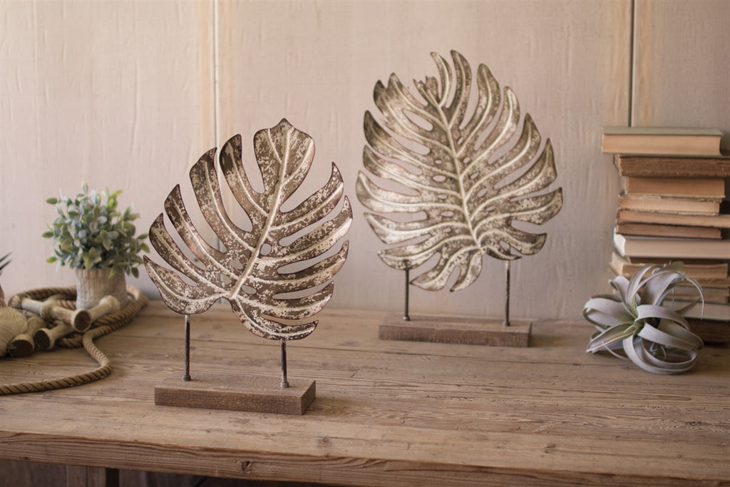 Metal Monstera Leaves On Wooden Bases - Set of 2