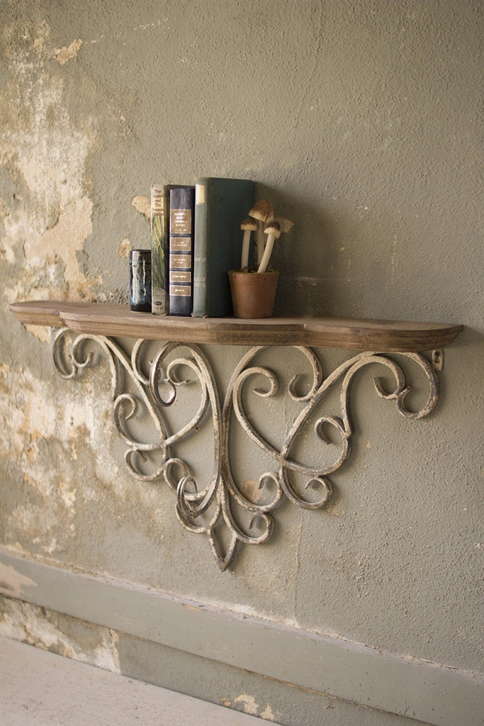 Wood Top Shelf With Metal Filigree Detail