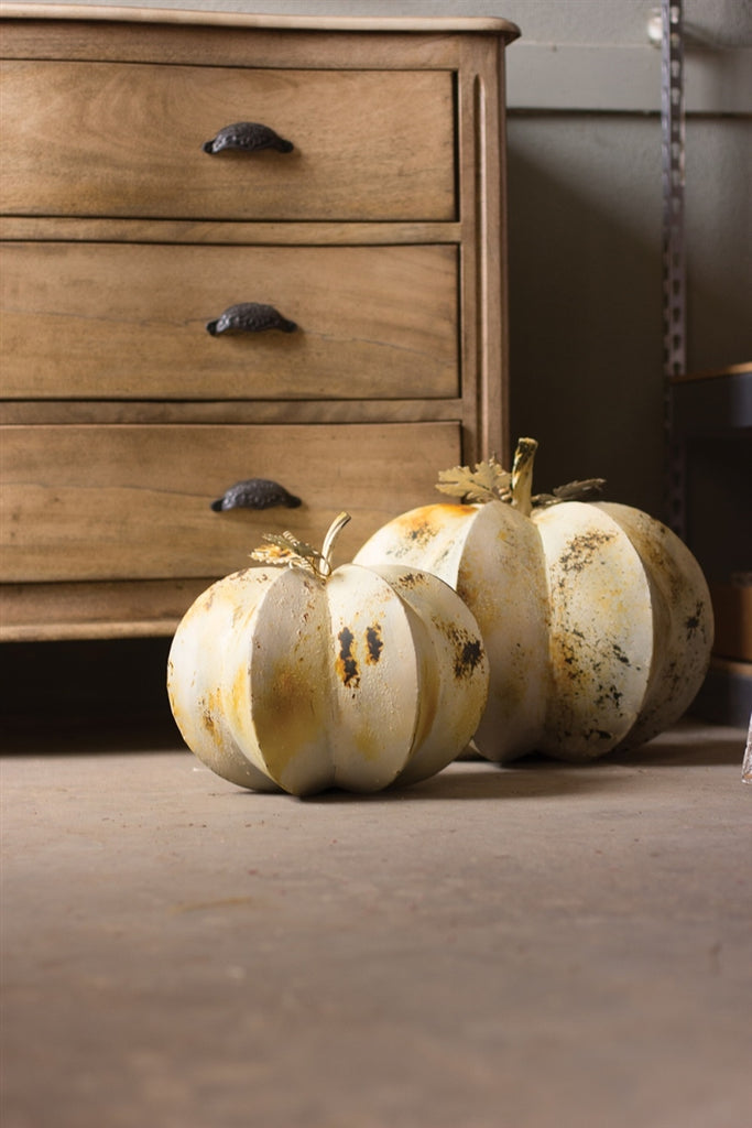 Antique White Metal Pumpkins - Set of 2