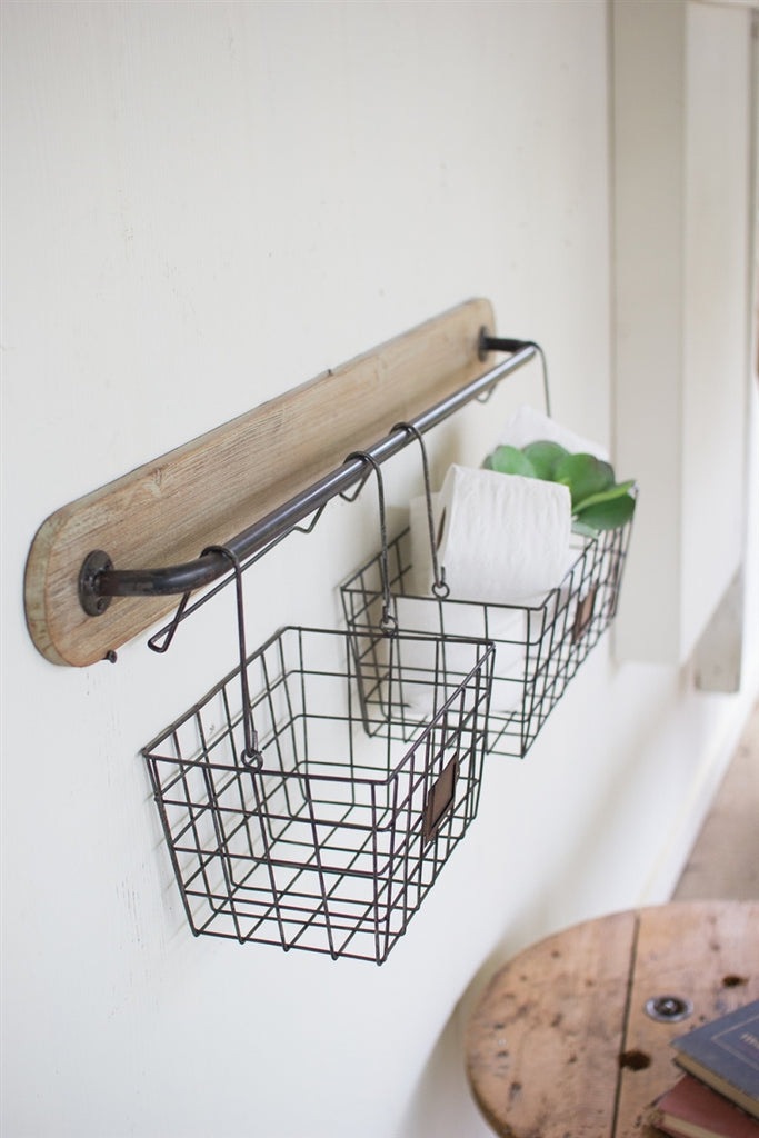 Wood And Metal Wall Bracket With 2 Wire Baskets