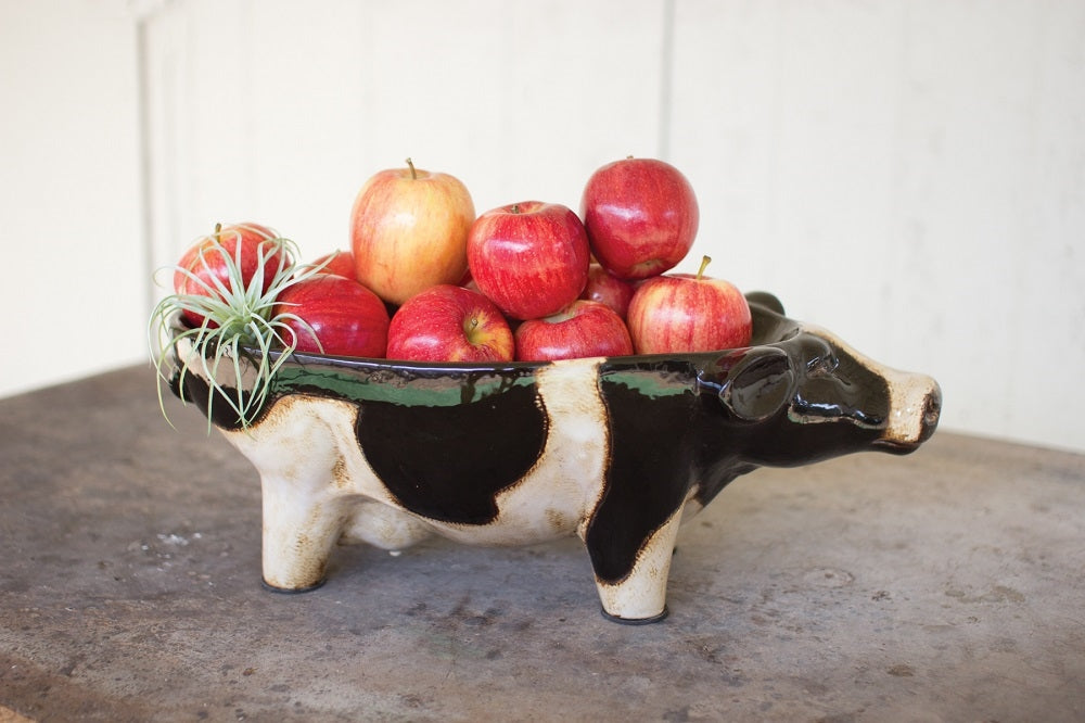 Ceramic Black And White Cow Bowl