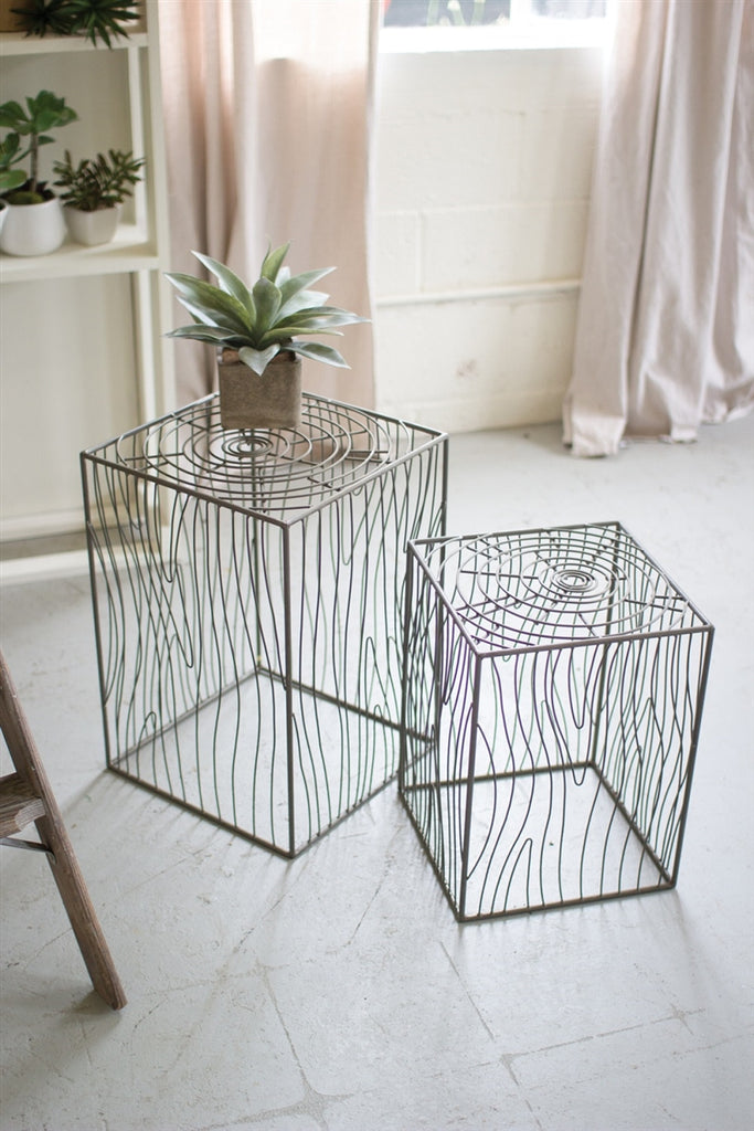 Wire Wood Grain Accent Tables - Set of 2
