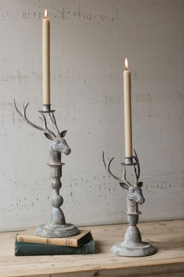 Deer Taper Candle Holders - Set of 2