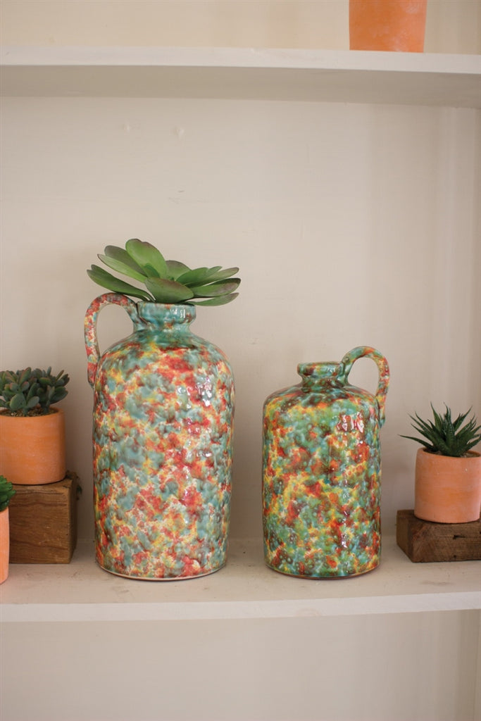 Multi Colored Spatterware Ceramic Bottles With Handle