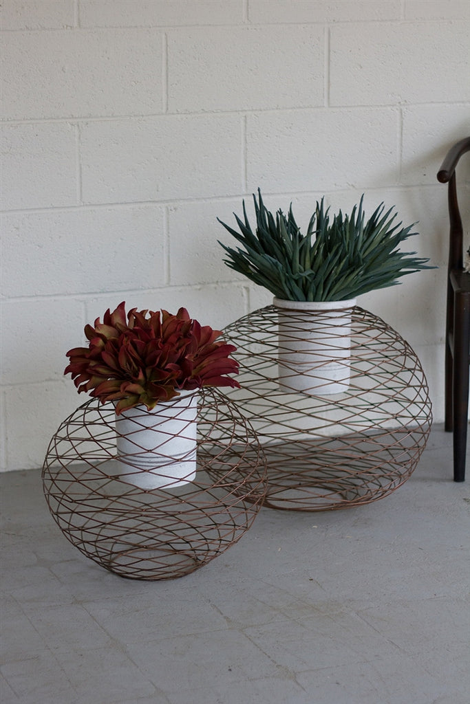 Copper Finish Wire Ball Planters With White Wash Pots - Set of 2