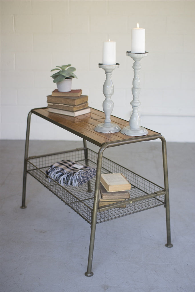 Wood And Metal Console With Wire Mesh Lower Tray