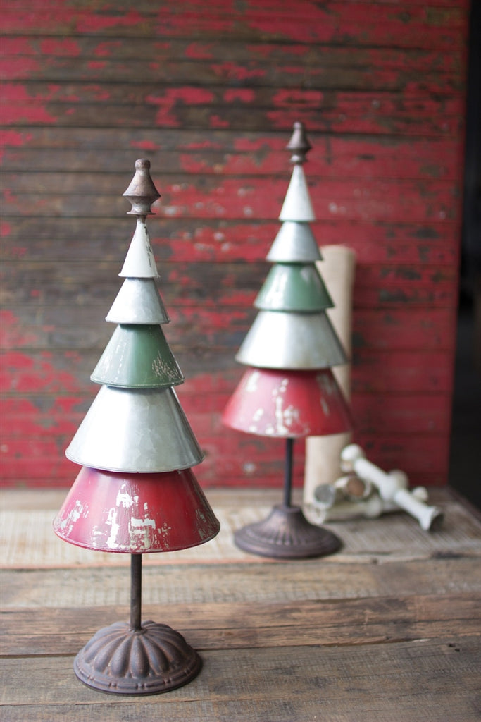Galvanized Red and Green Metal Trees - Set of 2