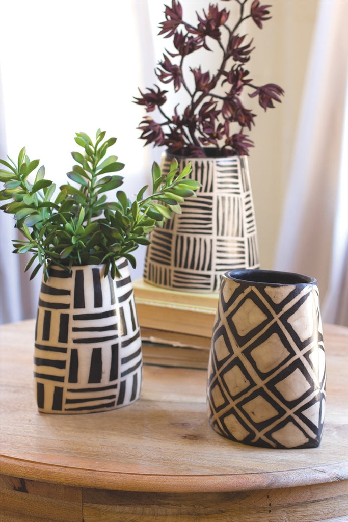 Black And White Oval Vases With Geometric Design - Set of 3