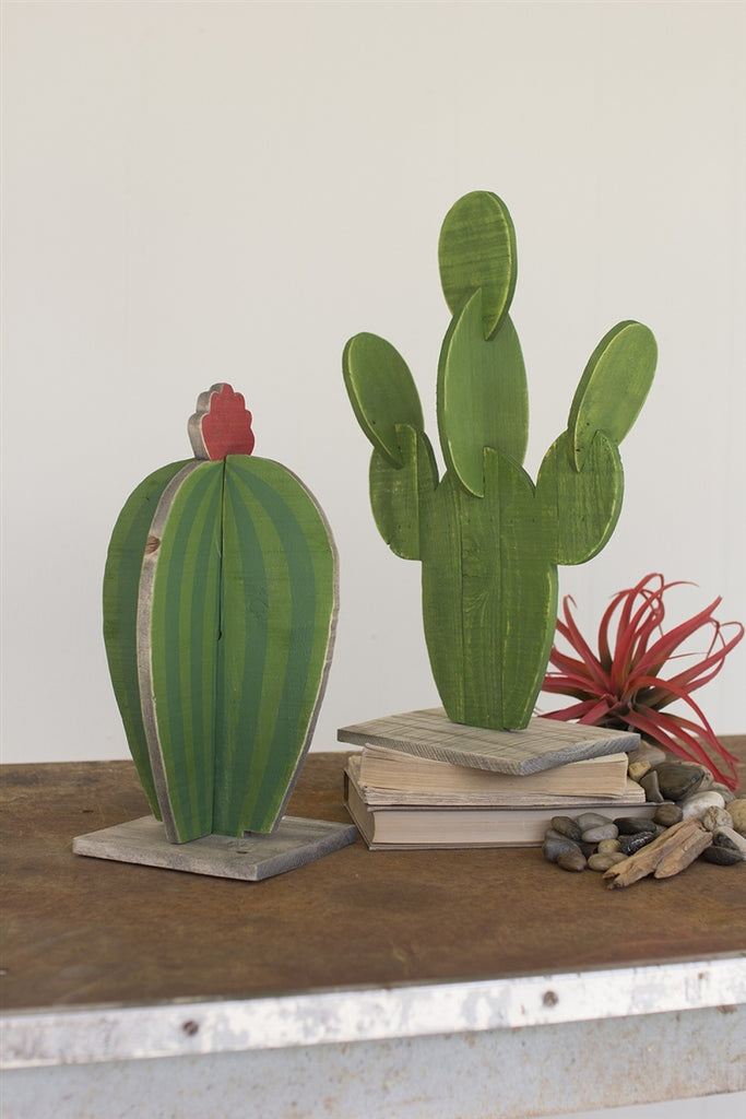 Painted Wooden Cactus - Set of 2
