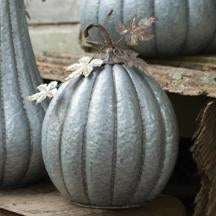 Galvanized Pumpkin With Rustic Detail - Small