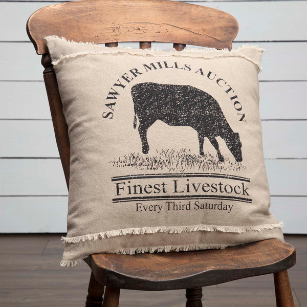 Sawyer Mill Cow Charcoal Pillow