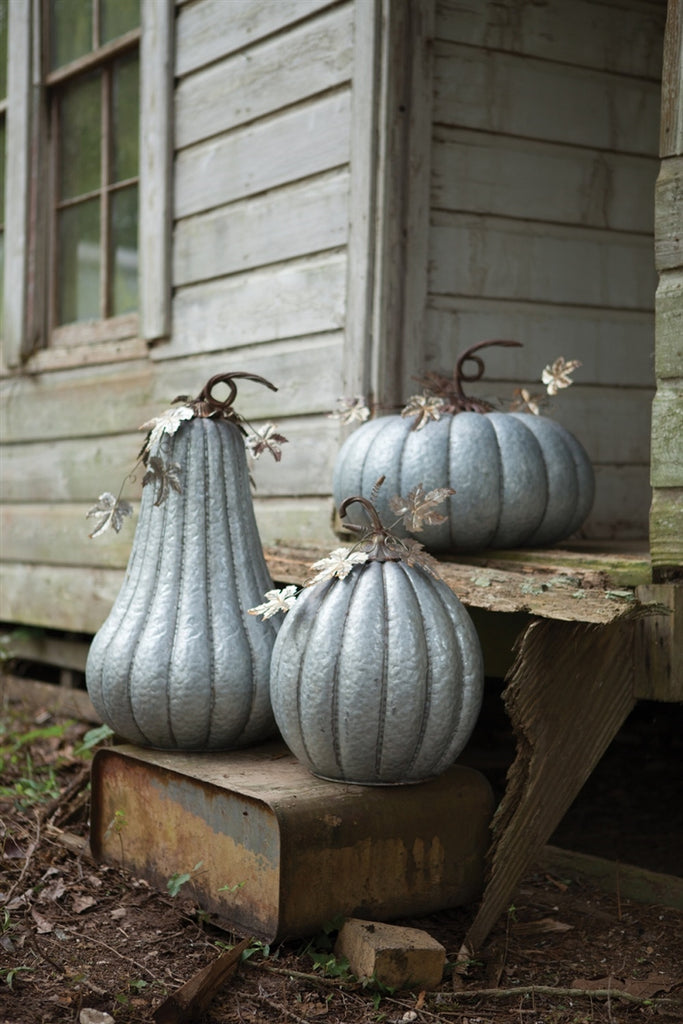 Galvanized Pumpkin With Rustic Detail - Medium