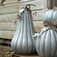 Galvanized Pumpkin With Rustic Detail - Large