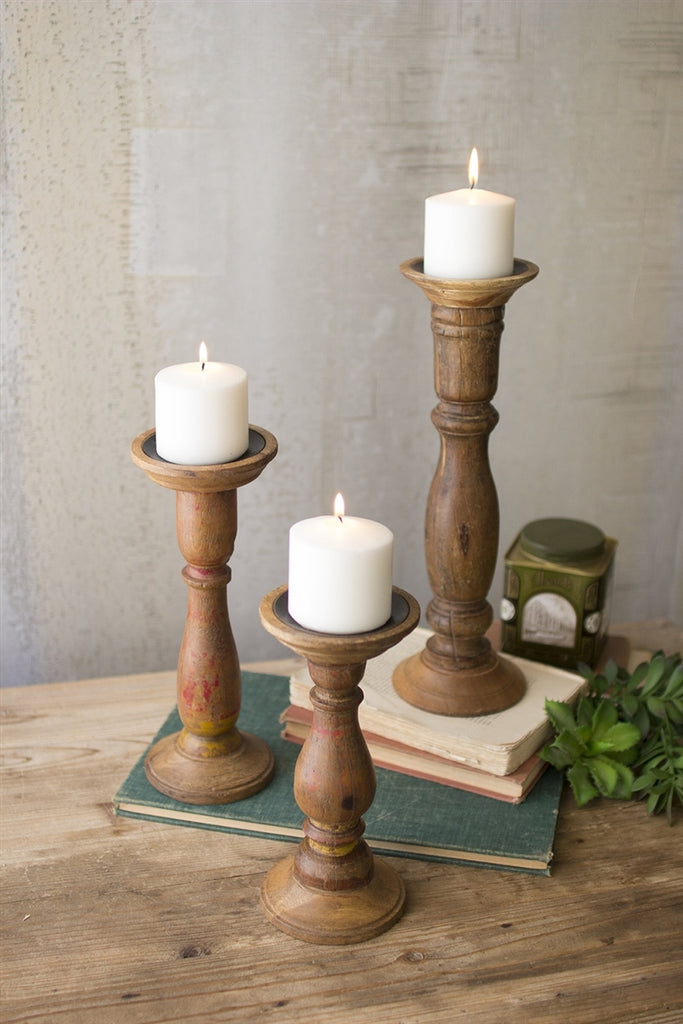 Turned Wooden Candle Stands - Set of 3