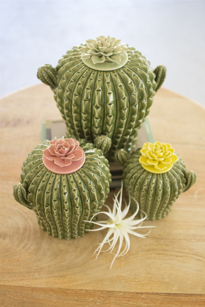 Cactus Canisters With Flower Tops - Set of 3