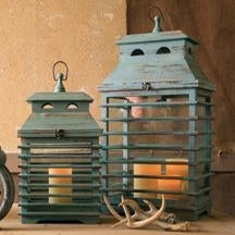 Vintage Blue Shutter Lanterns - Set of 2
