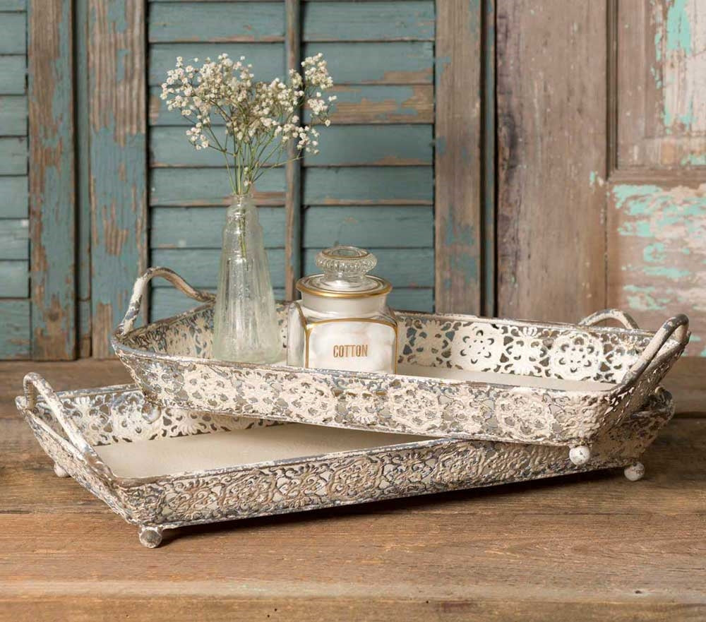 Weathered White Trays - Set of 2