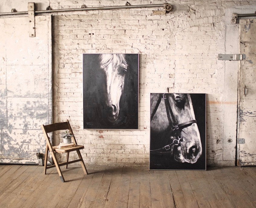 Black and White Horse Oil Painting With Silver Frame