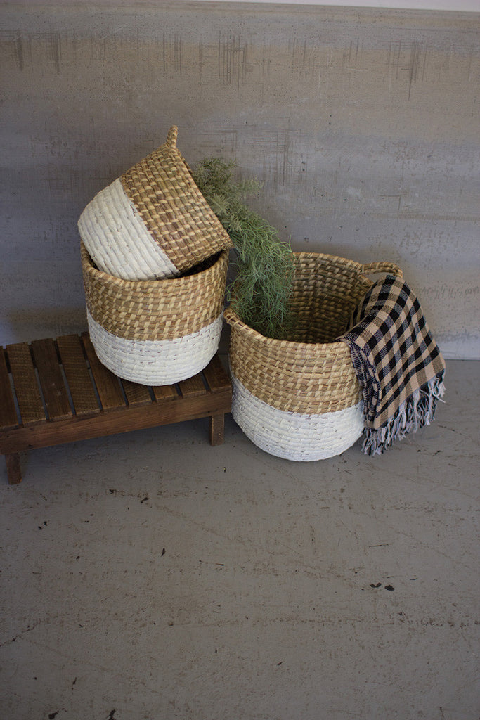 white dipped seagrass hampers with handles set of 3