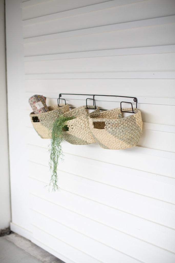 hanging woven seagrass baskets on recycled metal frame- set of 3