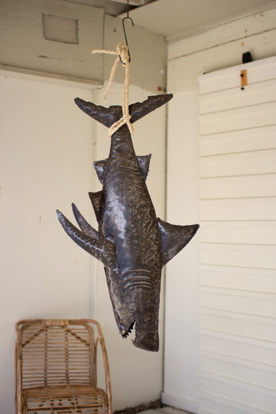 hanging rustic metal shark with rope