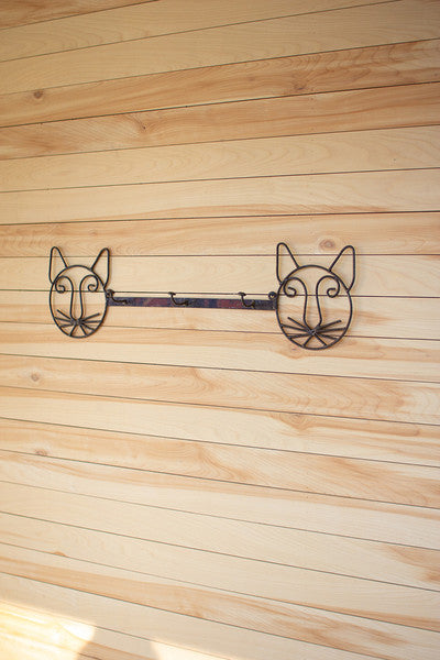 recycled rustic metal coat rack \ cat