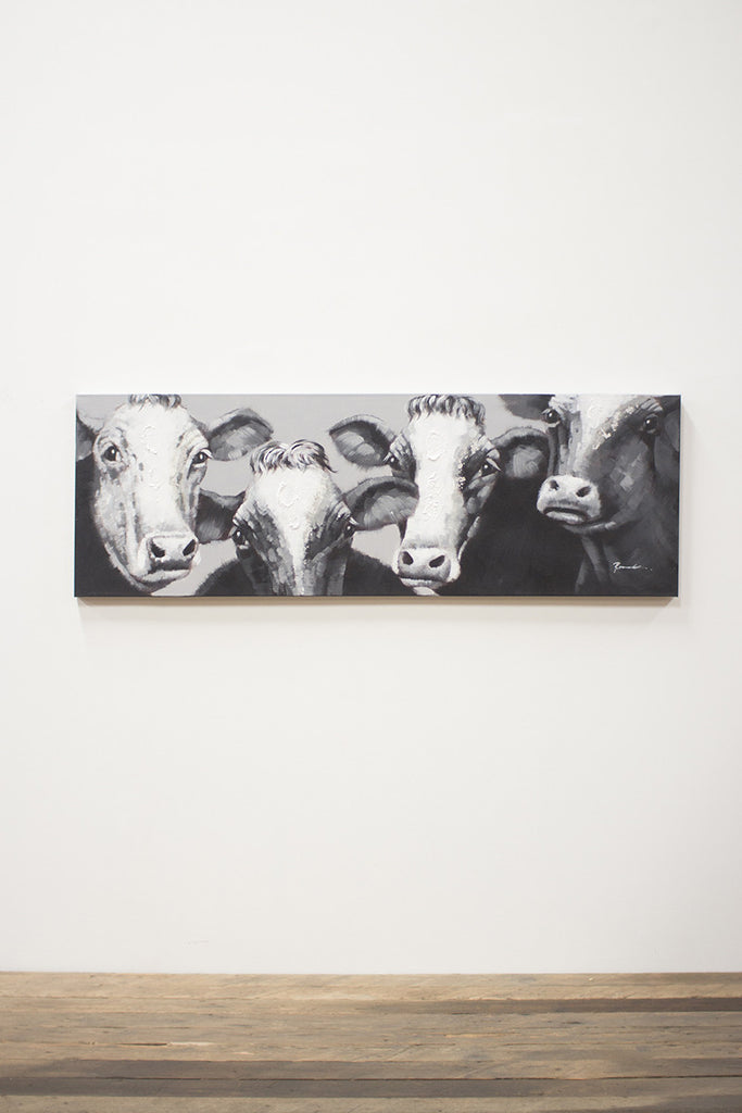 oil painting \ black and white four cows