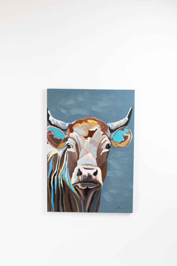 Colorful Cow Oil Painting