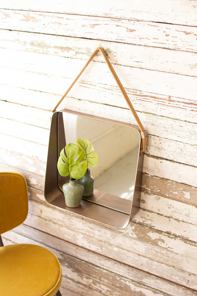 square metal wall mirror shelf with cotton hanger