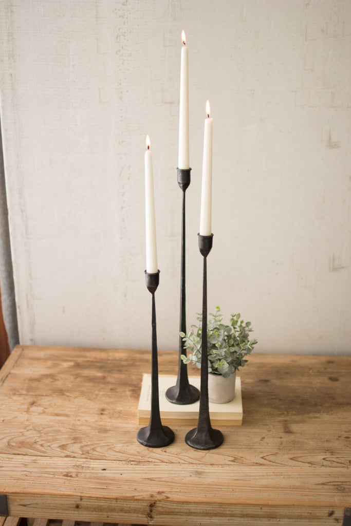 Tall Cast Iron Taper Candle Holders - Set of 3