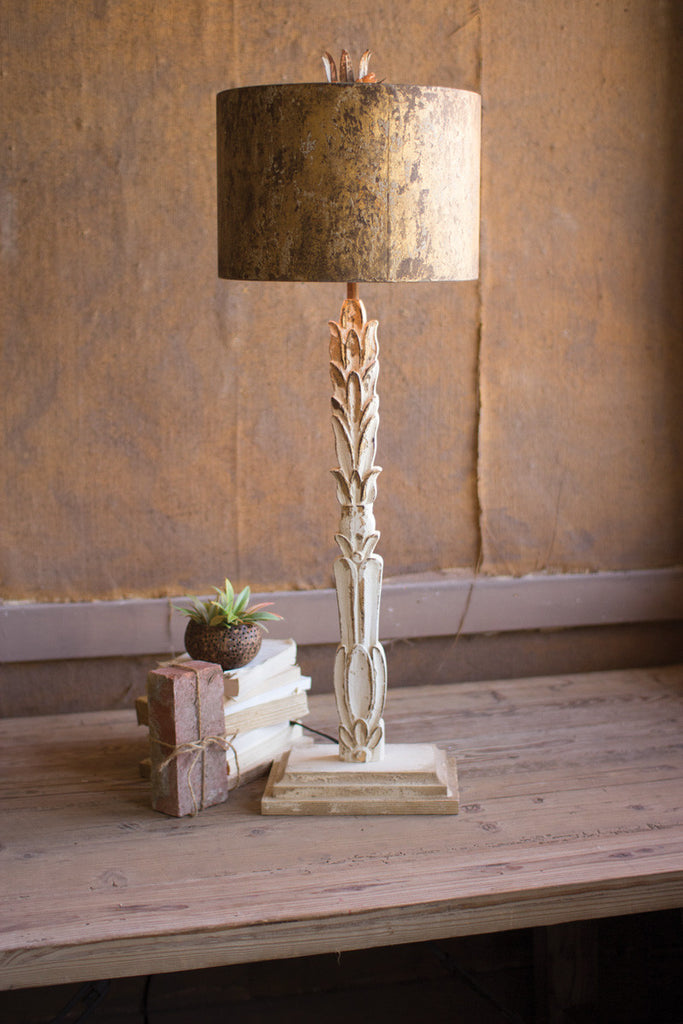 table lamp \ carved wooden base with rustic metal shade