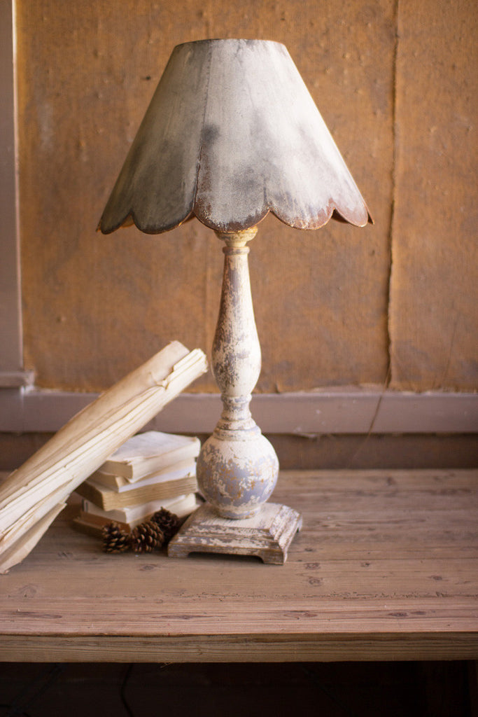table lamp \ wood base with rustic scalloped metal shade