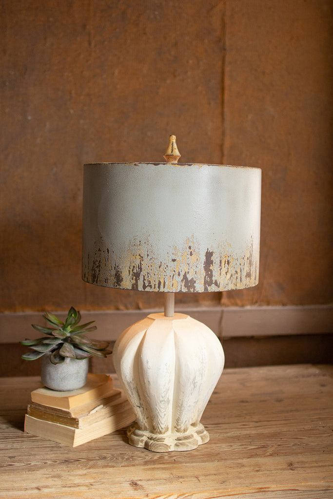 table lamp with painted wooden base & grey metal barrel shade