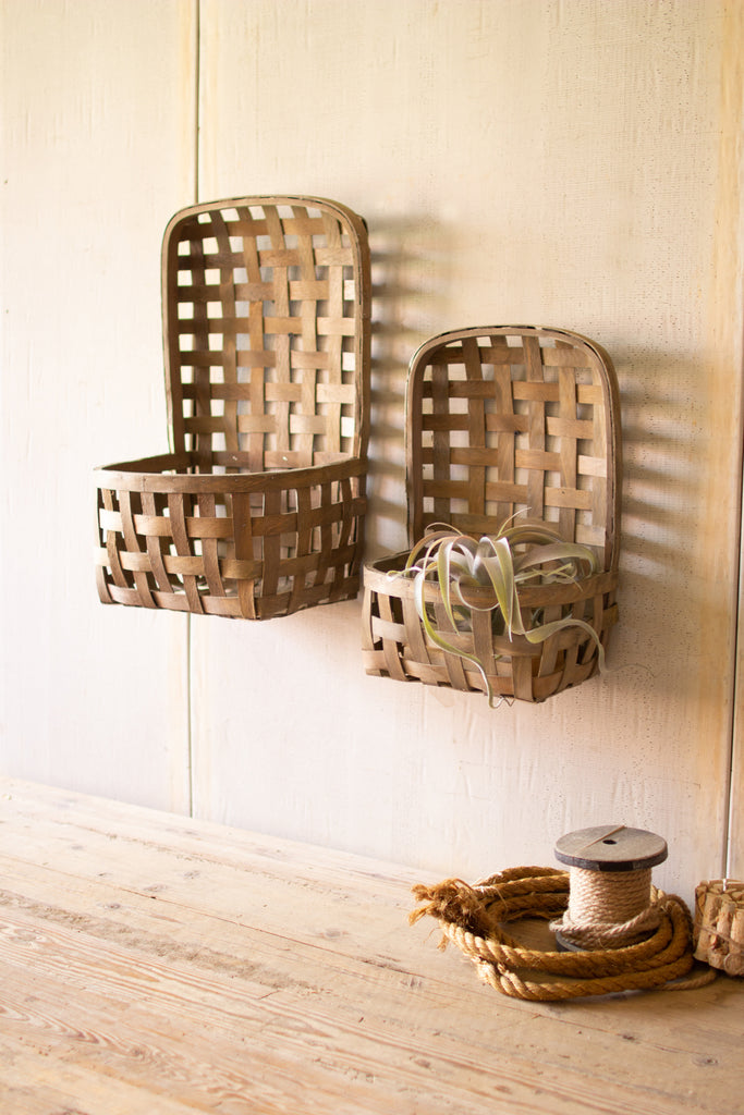 Rustic Hanging Split Wood Baskets With Pocket - Set of 2