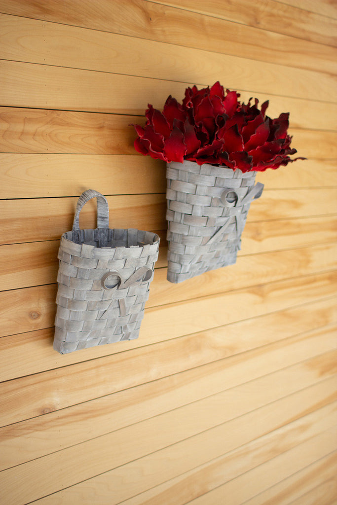 set of two grey wash chipwood wall baskets