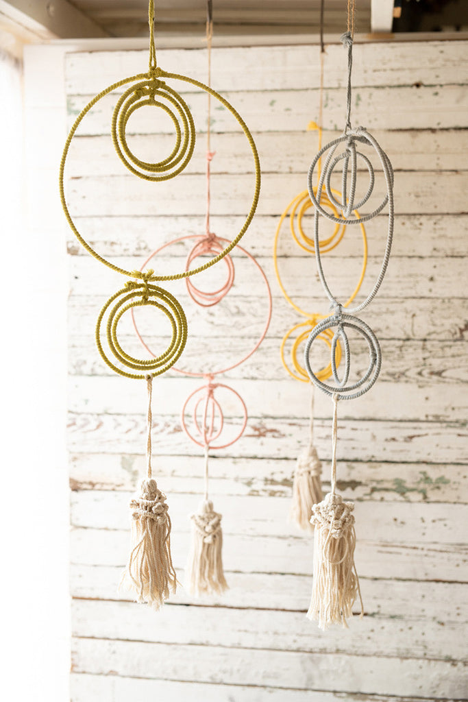 set of four cotton dreamcatchers with tassels