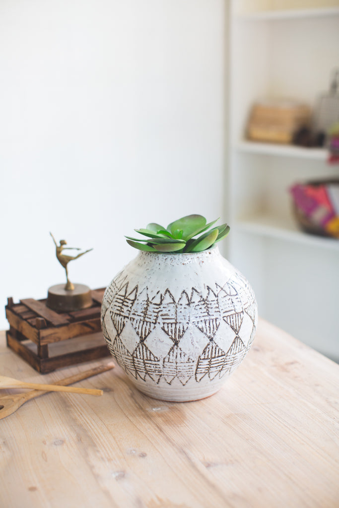 Round Geometric Ceramic Vessel